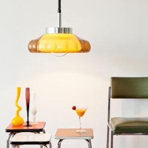 BruinOranje jaren 70 hanglamp plastic en chroom